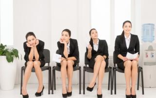 Bild: Four different poses of one woman waiting for interview. = © BlueSkyImages / fotolia
