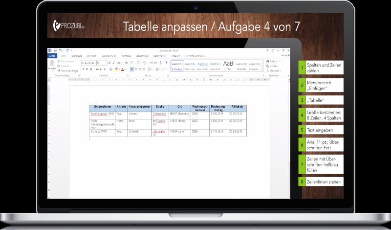 Lernen mit Word und Excel mit 36 Lernvideos und 15 Übungsaufgaben